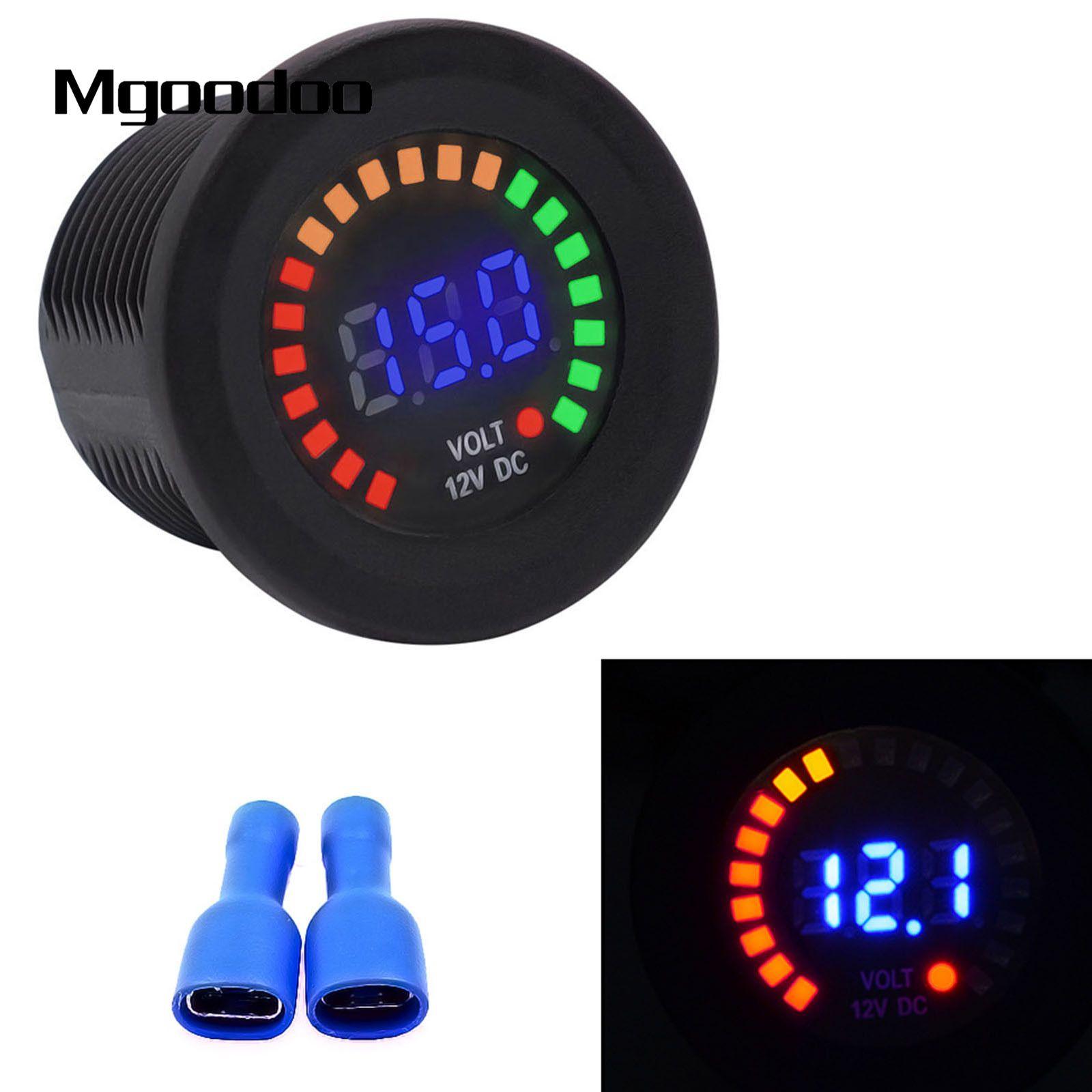 Mgoodoo Car Motorcycle Waterproof Voltmeter Blue LED Digital Panel Display Voltage Volt Meter DC 12V IP65 Auto Instrument Gauges