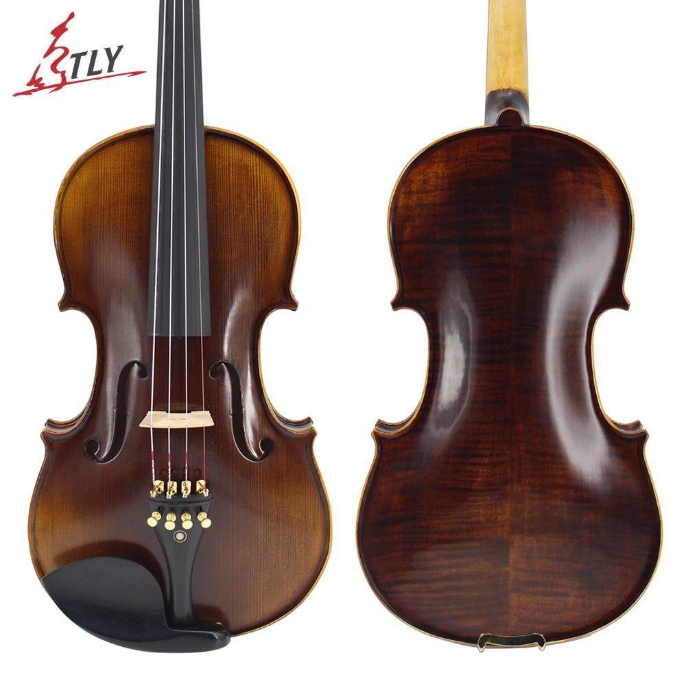 TLY Meister Handgefertigten Antiken Violine Natur Flamed Maple Akustische Violine Voller Größe 1/4, 1/2, 3/4, 4/4 Ebenholz teile w/Fall Kolophonium