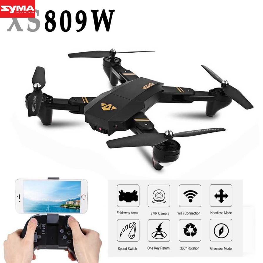 SYMA Aircraft Mini Drone Foldable RC Selfie Drone Wifi Real Time FPV 2MP helicopter gyro remote control aircraft dec26