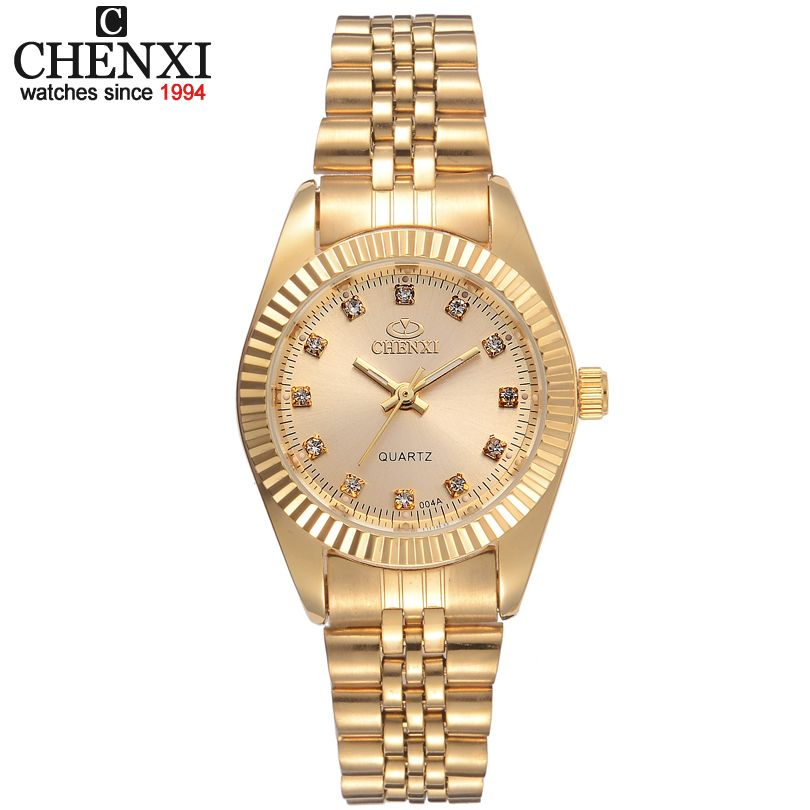 Chenxi marca de lujo señoras reloj de oro mujeres vestido rhinestone cuarzo impermeable relojes femenino