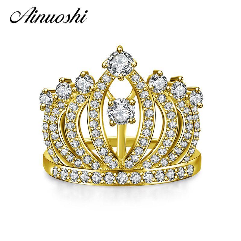 AINUOSHI 10k Solid Yellow Gold Women Wedding Ring Fashion Princess Crown Band Brilliant Lady Engagement Bridal Rings Customized