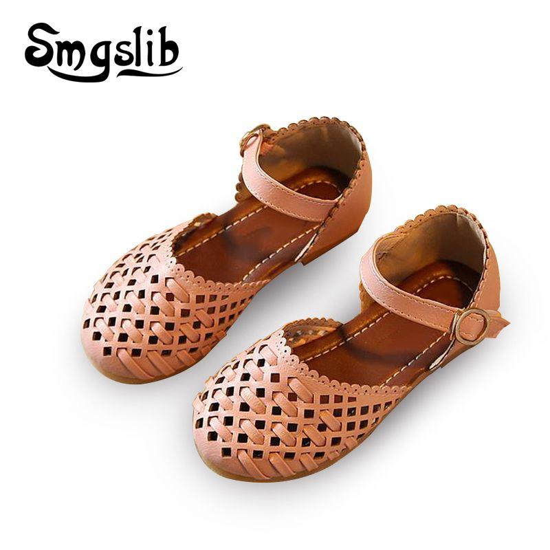 Filles sandales bébé D'été gladiateur sandales plat chaussures Mode enfants chaussures filles princesse cut-outs Enfants pu Chaussures en cuir