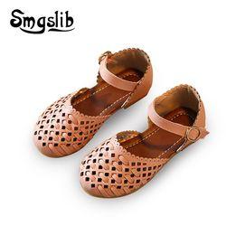 Sandalias de las muchachas del verano sandalias de gladiador zapatos planos niños zapatos niñas princesa recortes niños pu zapatos de cuero