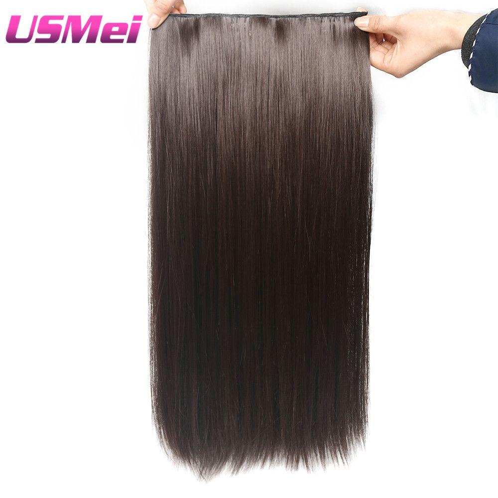 USMEI 5 clips/pièce extension de cheveux droite soyeuse naturelle 24