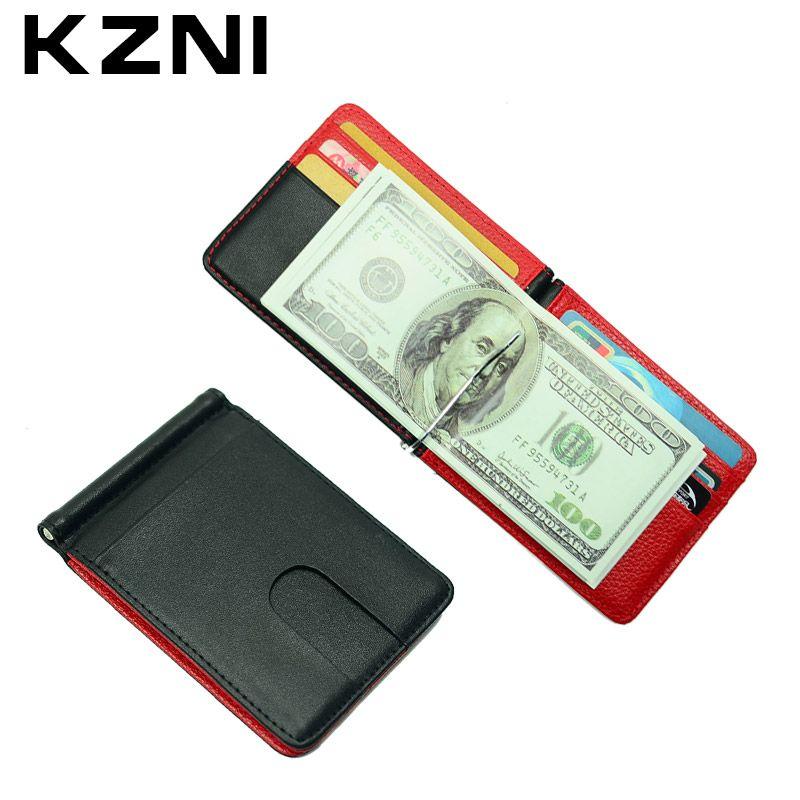 KZNI Titular Del Dinero Clip de la Carpeta de Cuero Caja de Tarjeta de Crédito Titular de la Tarjeta de Crédito de Cuero de Metal Porta Carte Di Credito 004