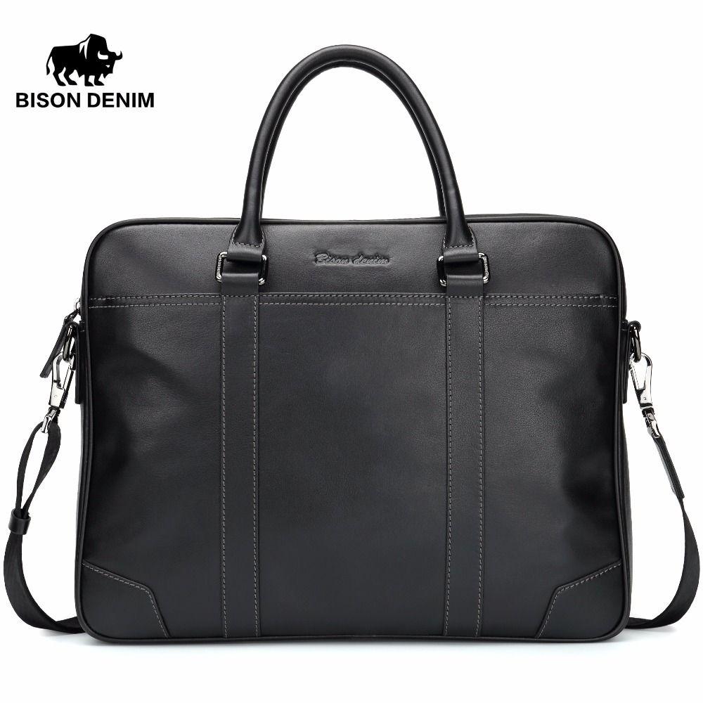 BISON DENIM Fashion Cowhide Male Handbag Famous Brand 14 inches Laptop Business Bag Men Messenger Bag Travel Crossbody Bag N2610