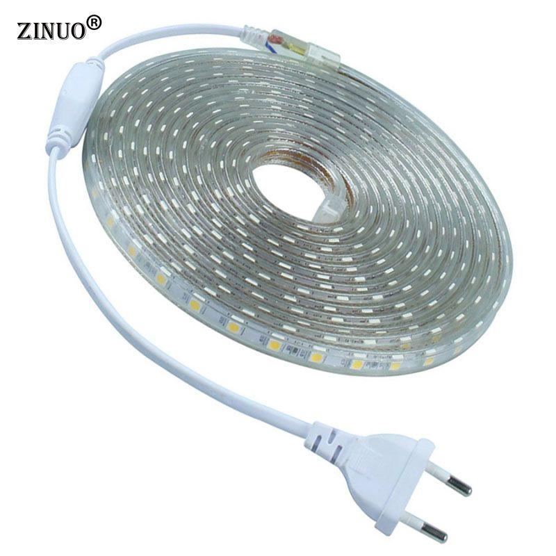 IP65 Waterproof AC220V 5M 10M LED Strip 5050 LED Ribbon Brighter than 5630 2835 3528 LED Tape White Warm White Red Green Blue