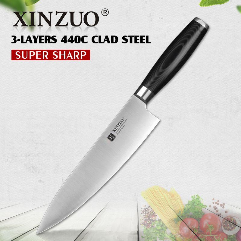 XINZUO 8 zoll kochmesser high carbon drei schichten 440C verkleidet stahl küchenmesser micarta griff hackmesser messer küche angelgerät