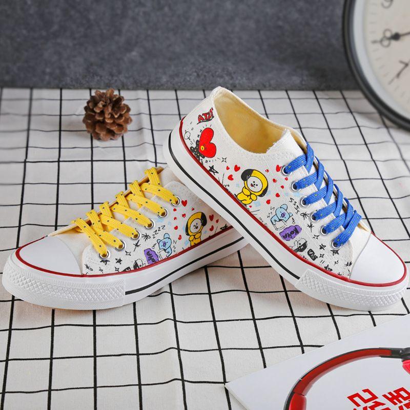 KPOP BTS Bangtan Boys BT21 Line Friends Low Tops Shoes JUNG KOOK JIMIN V Suga Women Casual Shoes Ship From US Dropping Shipping