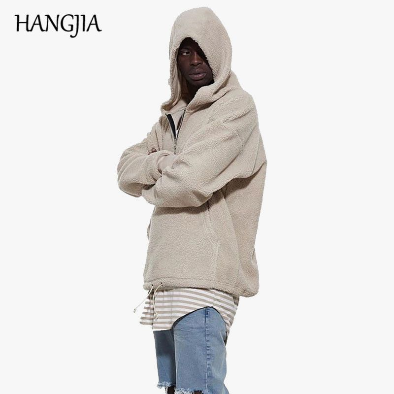 Sherpa Mens Hoodies 2018 Hip Hop With Half Zipper Winter Kanye West Hoodie Men Long Sleeve Hoodies Sweatshirt Men Casual