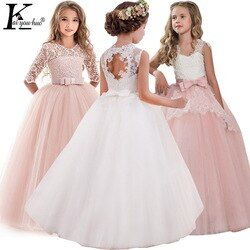 Children Evening Party Dresses Elegant Girl Princess Dress 2019 Summer Kids Dresses For Girls Costume Flower Girls Wedding Dress