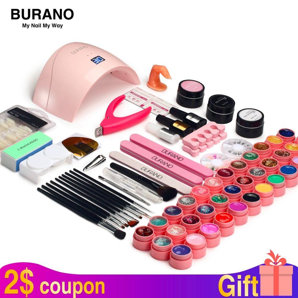 BURANO 36W UV LED Nail lamp dryer 36 color uv led building gel nail remover set brush file kit nail art manicure tools sets kit