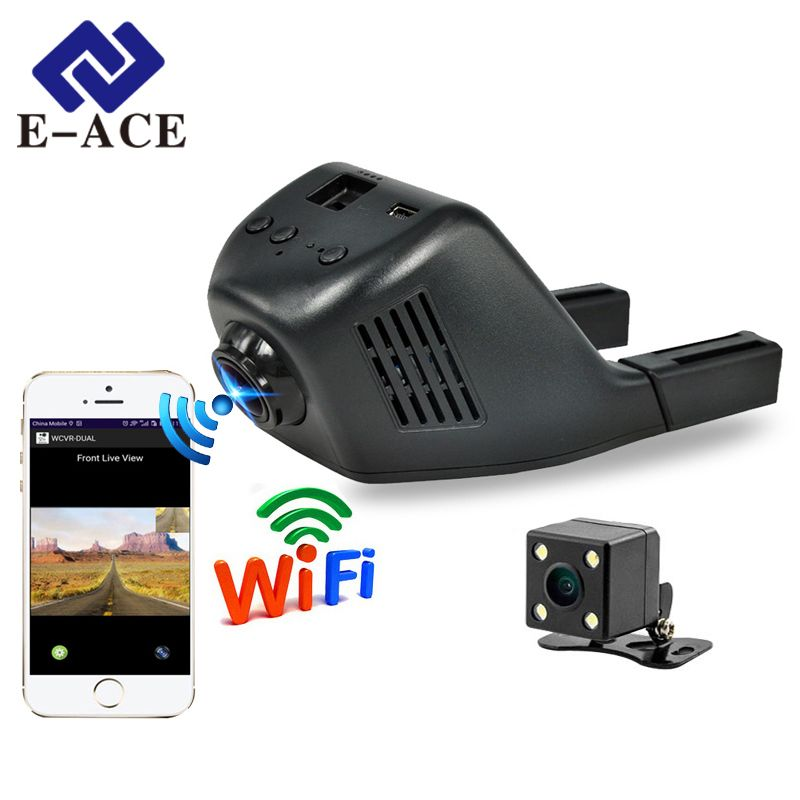 E-ACE Mini Wifi Car Dvr Dash Camera Video Recorder <font><b>Camcorder</b></font> Dual Lens With Rear View Camera FHD 1080P Auto Reistrator Dashcam