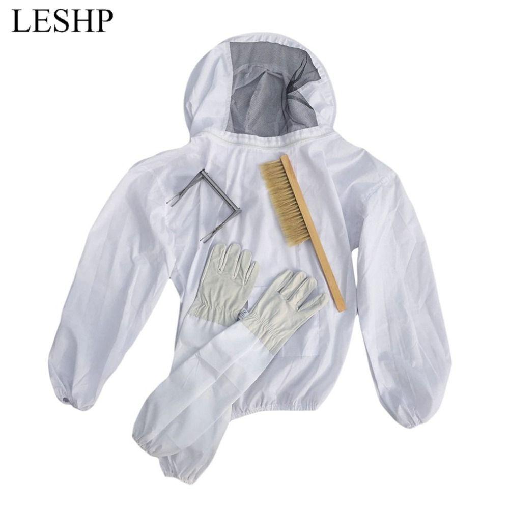 4PCS/SET Beekeeping Suit Tool Set Breathable White Beekeeping Jacket + Bee Brush + Lifter + Gloves Set Equipment