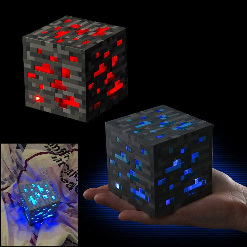 Minecraft Light Up Redstone Ore <font><b>Square</b></font> Toys Minecraft Night light LED Figure Toys Light Up Diamond Ore Kids Gifts Toys #E