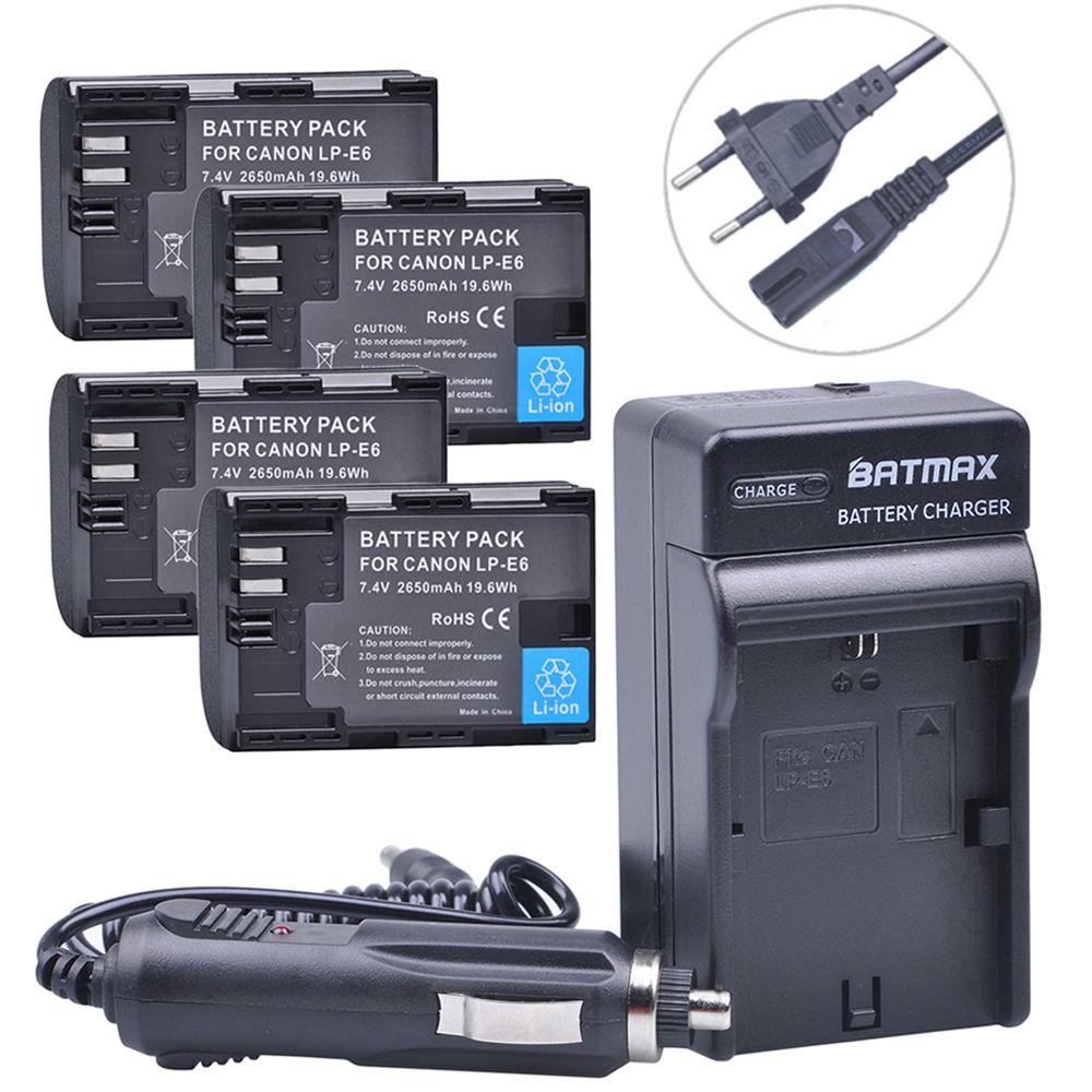 4Pcs 2650mAh LP-E6 LP E6 E6N Battery + AC Car Charger kits for Canon DSLR EOS 60D 5D3 7D 6D 70D 5D Mark II III Camera Accessory