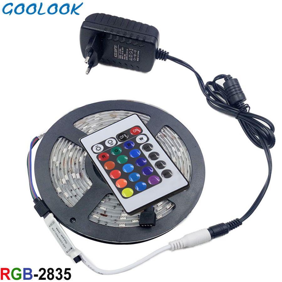 Bande de lumière LED bande RGB bande 2835 LED étanche llight ruban de lampe à diode électroluminescente DC12V bande d'éclairage RGB Flexible ensemble complet
