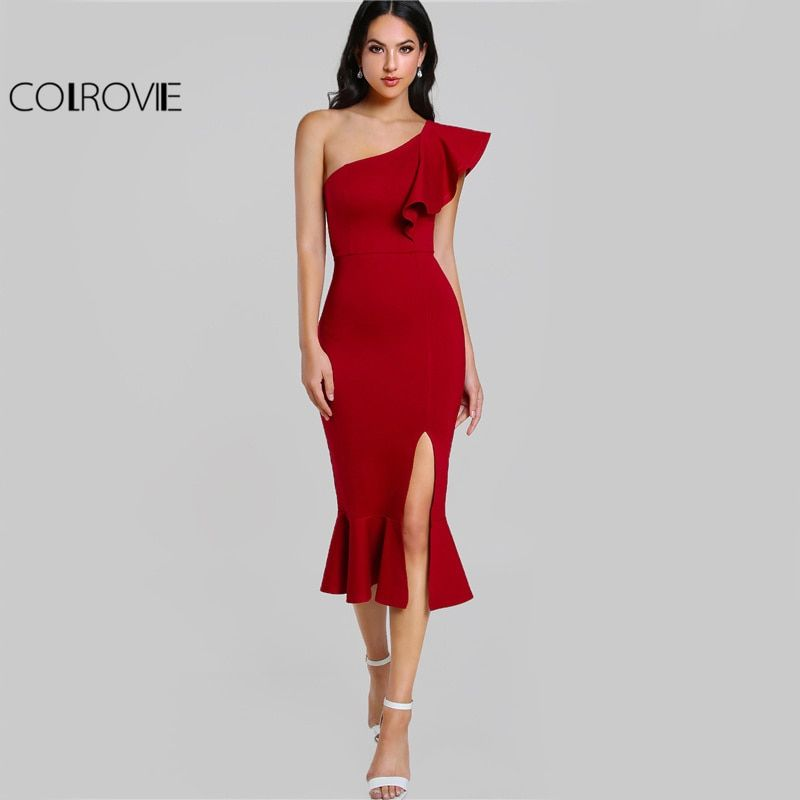 COLROVIE Slit Fishtail Summer Party Dress Burgundy One Shoulder 2017 Women Sexy Flounce Midi Dresses Elegant Empire Club Dress