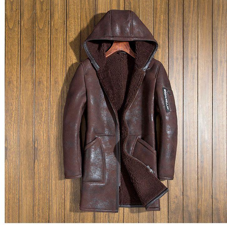 Italien männer winter echtem schaffell mantel natürliche scheren leder wolle liner mit haube hut männlich lange jacke braun schwarz 4xl