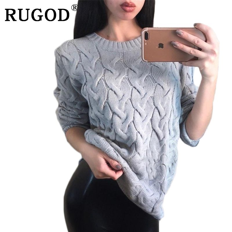 RUGOD Spring O Neck Knitted Sweater for Women Fashion Multi Colors Twisted Long Sleeve Loose Pullover Tops Pull Femme Hiver