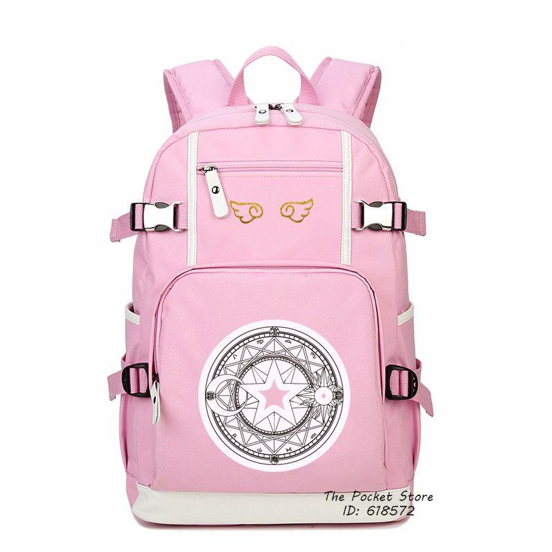 High Quality Card Captor SAKURA Printing Backpack Cardcaptor Sakura Canvas School Bags Lolita Women Backpack Mochila Feminina