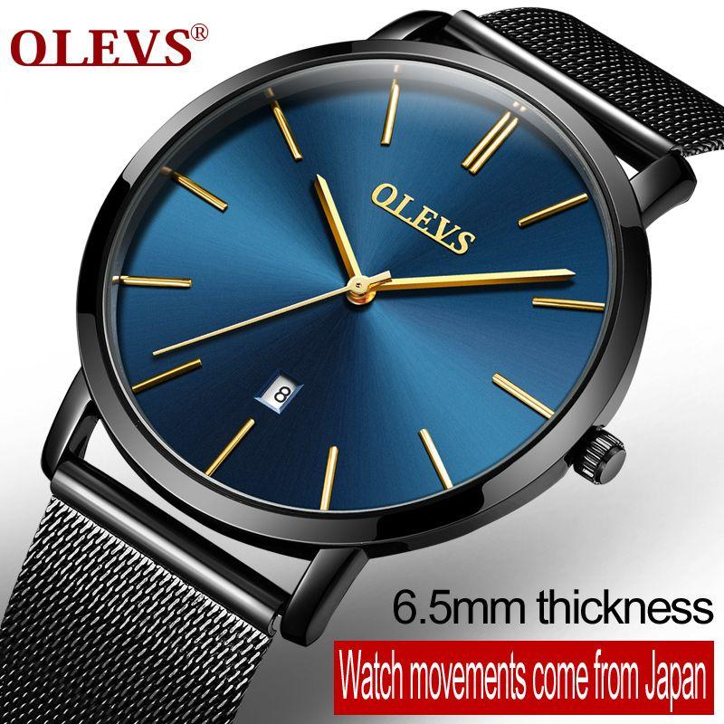 OLEVS Luxury Ultra Thin Quartz Watches For Men Male Stainless Steel Mesh Strap Calendar Waterproof Business Wristwatch 5868&G69