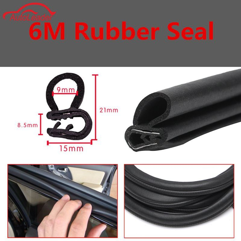 6 M Black Car Seal Strips Trim Edge Protector Rubber Auto Door Noise Insulation Anti-Dust Soundproof Sealing B-shaped