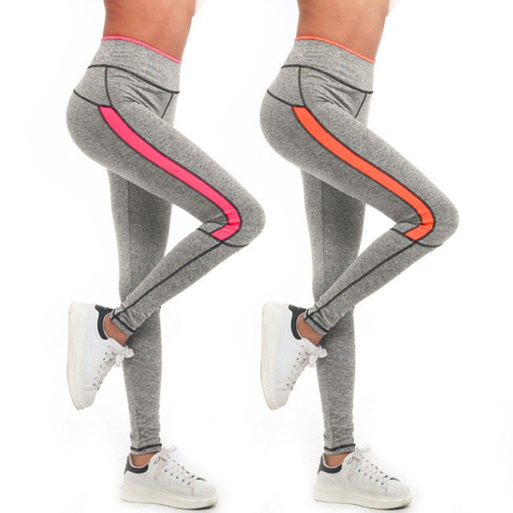 Women Lift Hip Long Pant Stitching Color Girls Quick-Drying Sport Running Yoga Jogging Pant Gym Fitness Yoga Pant C4 Hot Sales