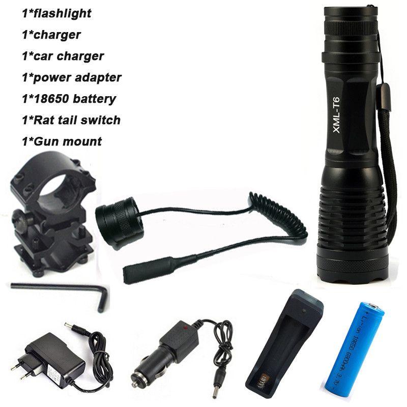 CREE XM-T6 Flashlight 6000Lumens LED Tactical Flashlight Aluminum Hunting Flash Light Torch Lamp +18650+Charger+Gun Mount
