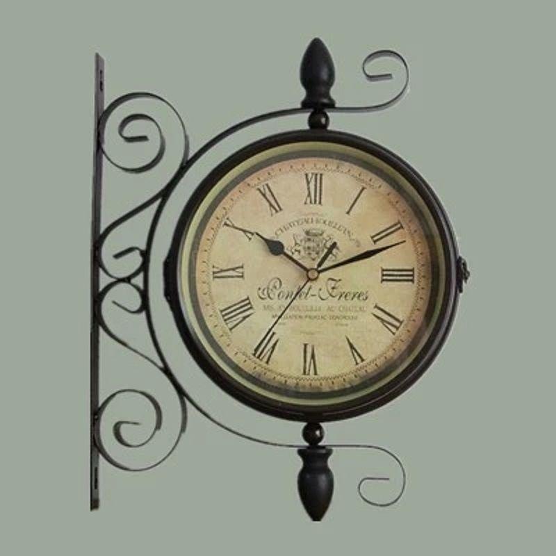 Double Sided Wrought Iron Wall Clock Digital Watch Vintage Wall Clock Relogio Parede Klok Muur Wanduhr Reloj Mural Wandklok Saat