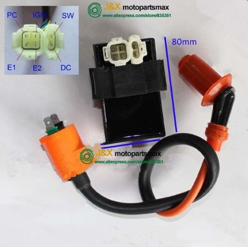 Free Shipping Performance Ignition Coil & DC CDI BOX For Kymco SYM Vento Scooter GY6 139qma 139qmb Engine