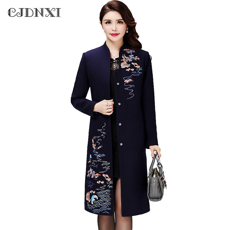 6XL Women Winter Red Wool Coat Female Embroidered Oversized Cashmere Long Coats 2017 National Vintage Slim Long Sleeve Jackets