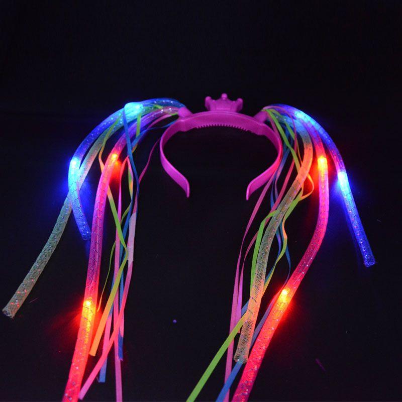Light Up Tresses Couronne Nouilles Cheveux Bande LED Clignotant Tuyau Bandeaux Femmes Filles Rave Lueur Fête D'anniversaire de Halloween