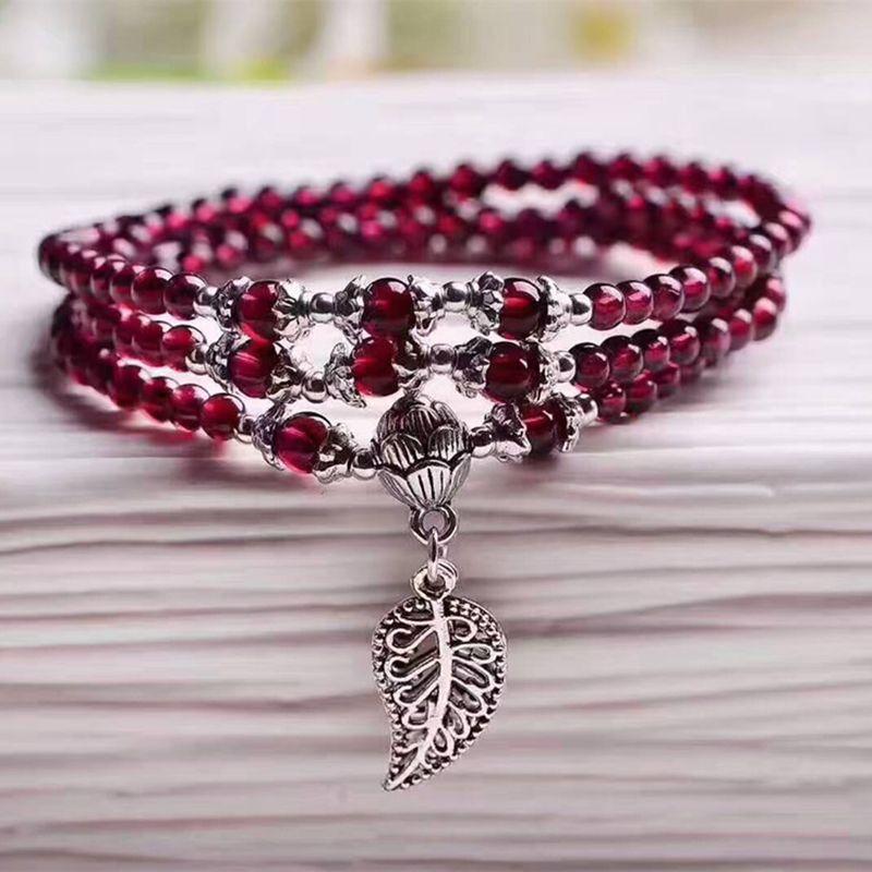 Wholesale Wine Red Garnet Natural Stone Bracelets Beads Tibetan silver Leaf Pendant Women Beauty Bracelet Multilayer Jewelry