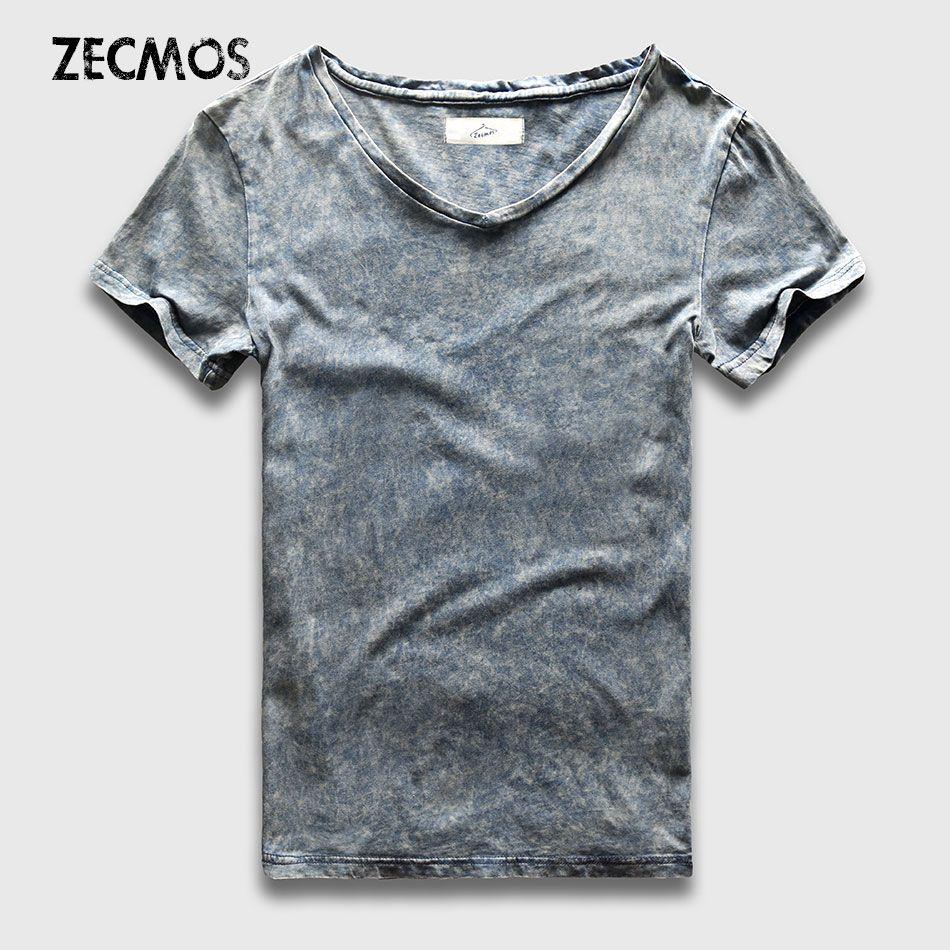 T-Shirt de mode de rue hommes Slim Fit col en V marbre noir lavage t-shirts pour hommes Vintage haut en coton t-shirts mâle acide lourd lavé