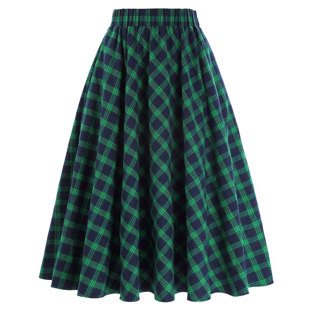 Autumn Winter High Waist Pleated Skirts Womens Elegant Grid Pattern Vintage Scottish Style Skater Midi Skirts Female Plaid Skirt