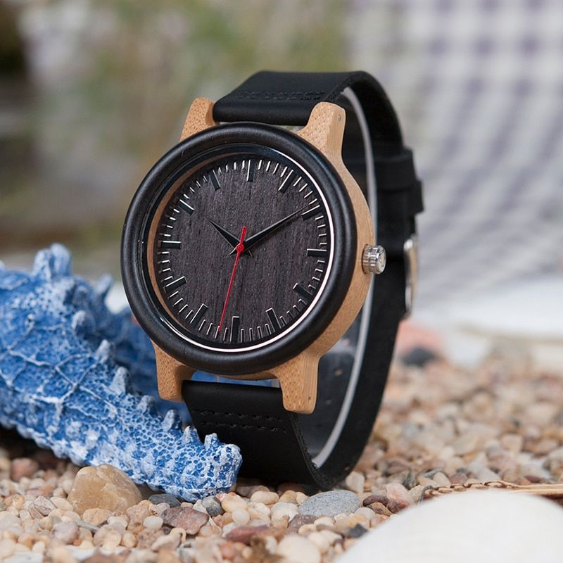 BOBO BIRD High Quantity Mens Wooden Quartz Watch with Leather Strap as Gift Customized Logo relojes hombre