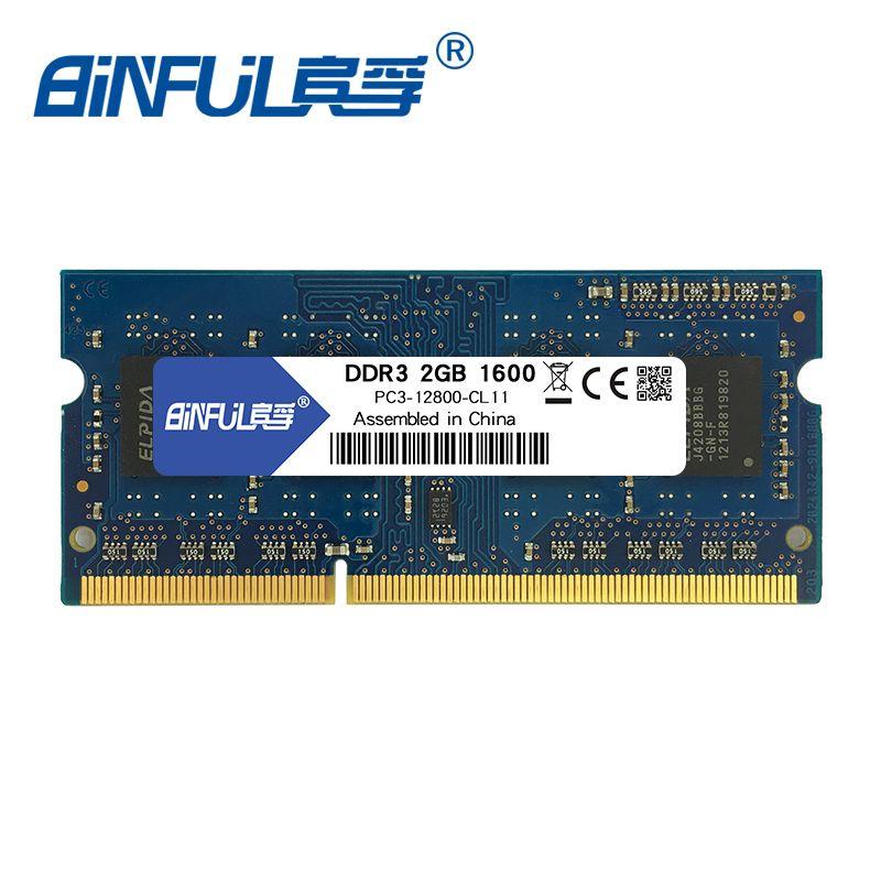 Binful DDR3 2 gb 4 gb 1600 mhz PC3-12800 memoria Ram ordinateur portable Mémoire sodimm 1.5 v