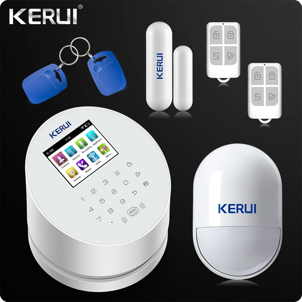 2018 KERUI W2 WiFi GSM PSTN RFID Home Alarm Security System TFT color LCD Display ISO Android App remo