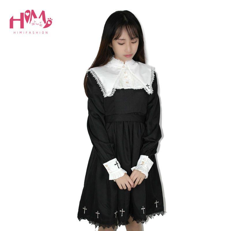 2019 japonais Harajuku noir Lolita femme Vintage robes pour mignon fille gothique Cosplay en forme de croix femmes à manches longues robe