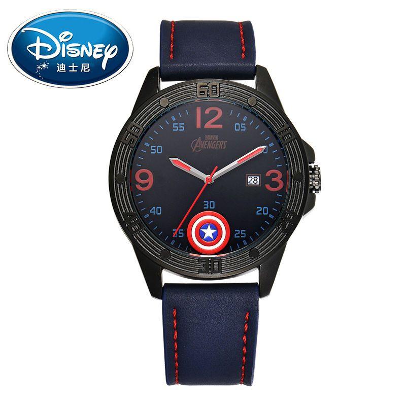 Niños de Disney Reloj Marvel Super Hero Moda Simple Fresco Relojes de Pulsera Niños Mickey Mouse Regalo Impermeable para Los Hombres de Cuero