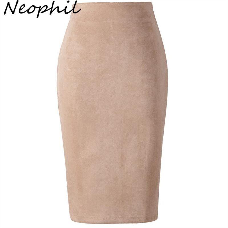 Neophil 2019 Femmes D'hiver En Suède Midi Crayon Jupe Taille Haute Gris Rose XXL Sexy Style Stretch Wrap Dames Bureau Travail saia S1009