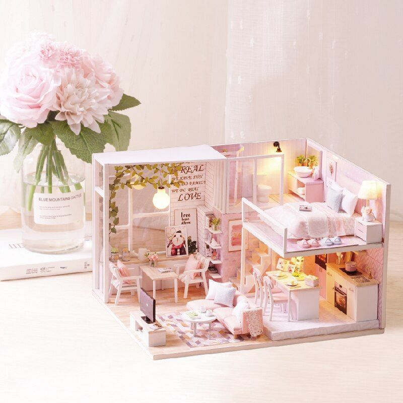DIY Doll House Miniature Dollhouse With Furnitures Wooden House For Dolls Miniaturas Toys For Children Kids Gift L022 #E
