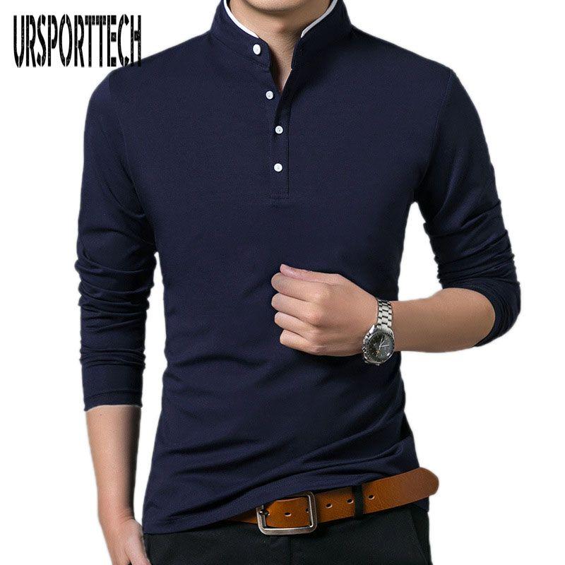 Haute qualité hommes Polo chemise hommes à manches longues solides Polos Camisa Polos Masculina populaire décontracté coton grande taille S-3XL hauts