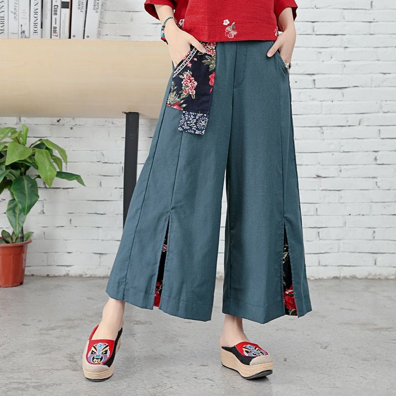 National Wind Broad Leg Pants 2018 Summer New Dress, Cotton And Linen Nine Pants Trousers, Chinese Style Restoring Ancient Splic