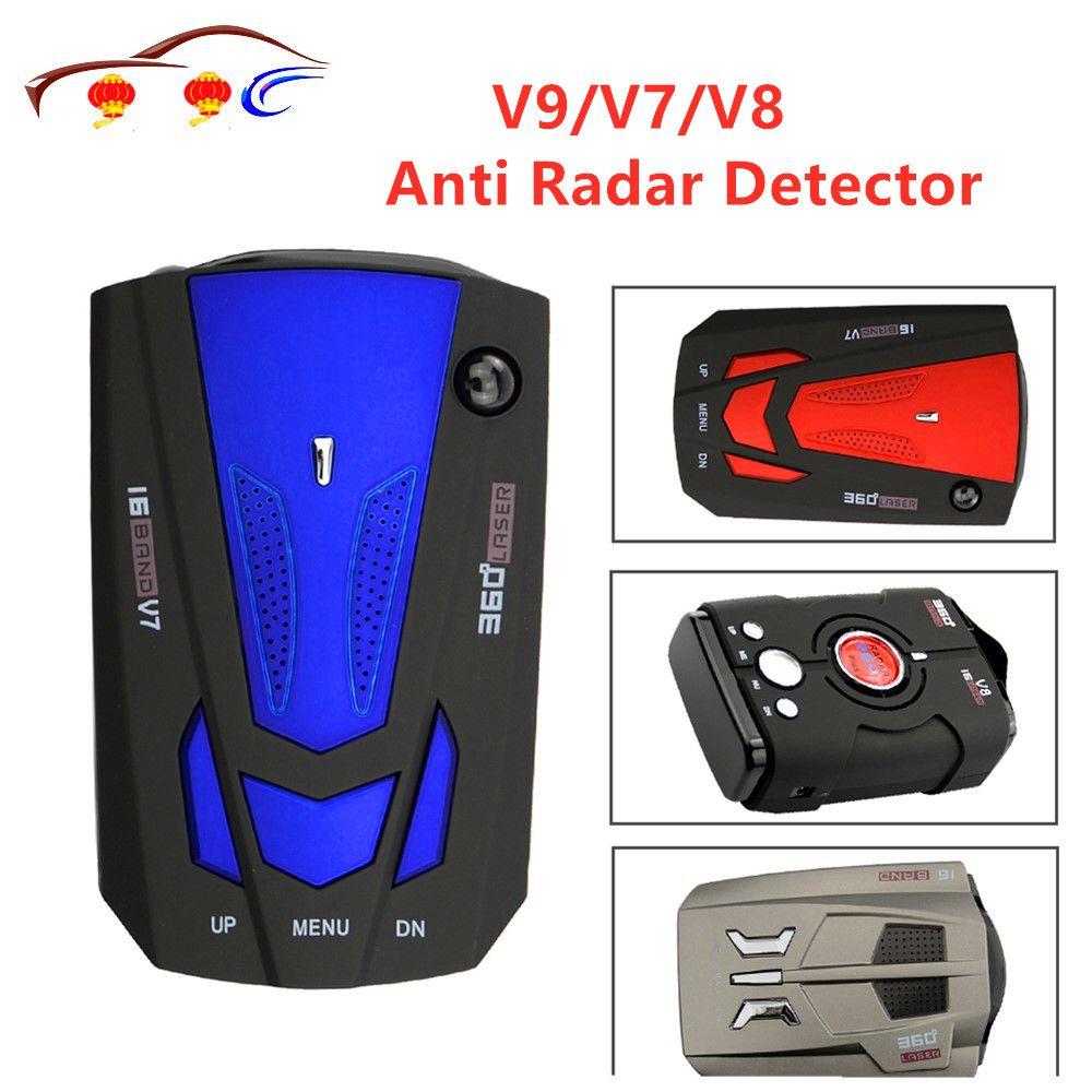 Meilleure voiture 360 degrés 16 bande LED affichage V9/V7/V8 Anti-Radar détecteur vitesse alerte vocale avertissement avec la russie anglais