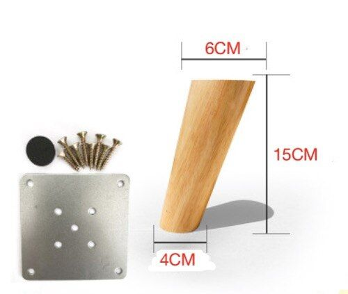 4PCS/LOT   H:15CM  Diameter:4-6cm  Nordic Oblique Sofa Wood Legs Solid  Wood TV Cabinet Table Foots