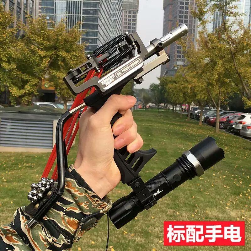 Hot Sale 3 Rubber Bands Adult Hunting Slingshot Powerful Slingshot Folding Wrist Black Slingshot Catapult for Outdoor Games
