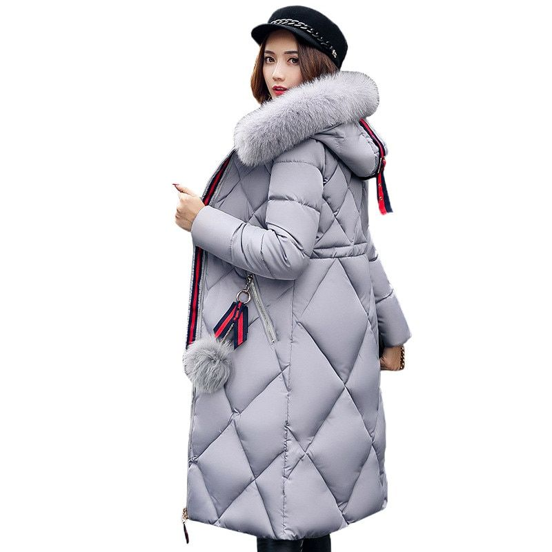 2017 Winter Big Fur coat Thickened Women Parka Stitching Slim Long Cotton Coat Down Ladies Wowan Parka Female Down Jacket