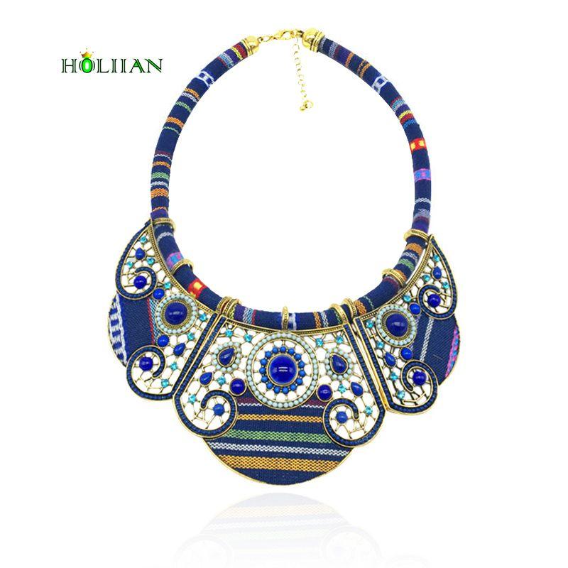 Hot nouveau femmes mode bohème collier et pendentifs moderne hippie marine bleu grand nom collier ras du cou tribal ethnique boho mujer
